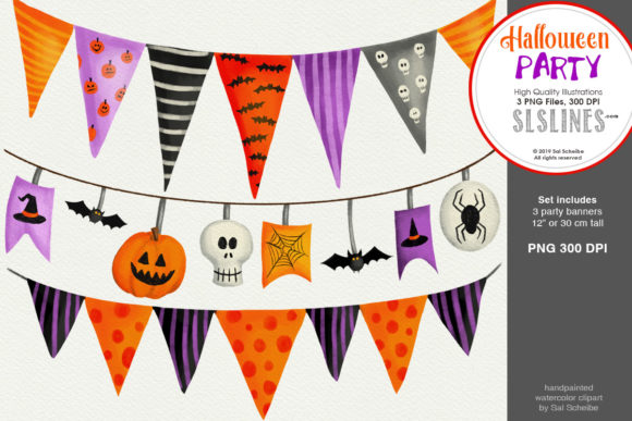 Print on Demand: Halloween Party: 3 Spooky Party Banners Graphic Illustrations By SLS Lines