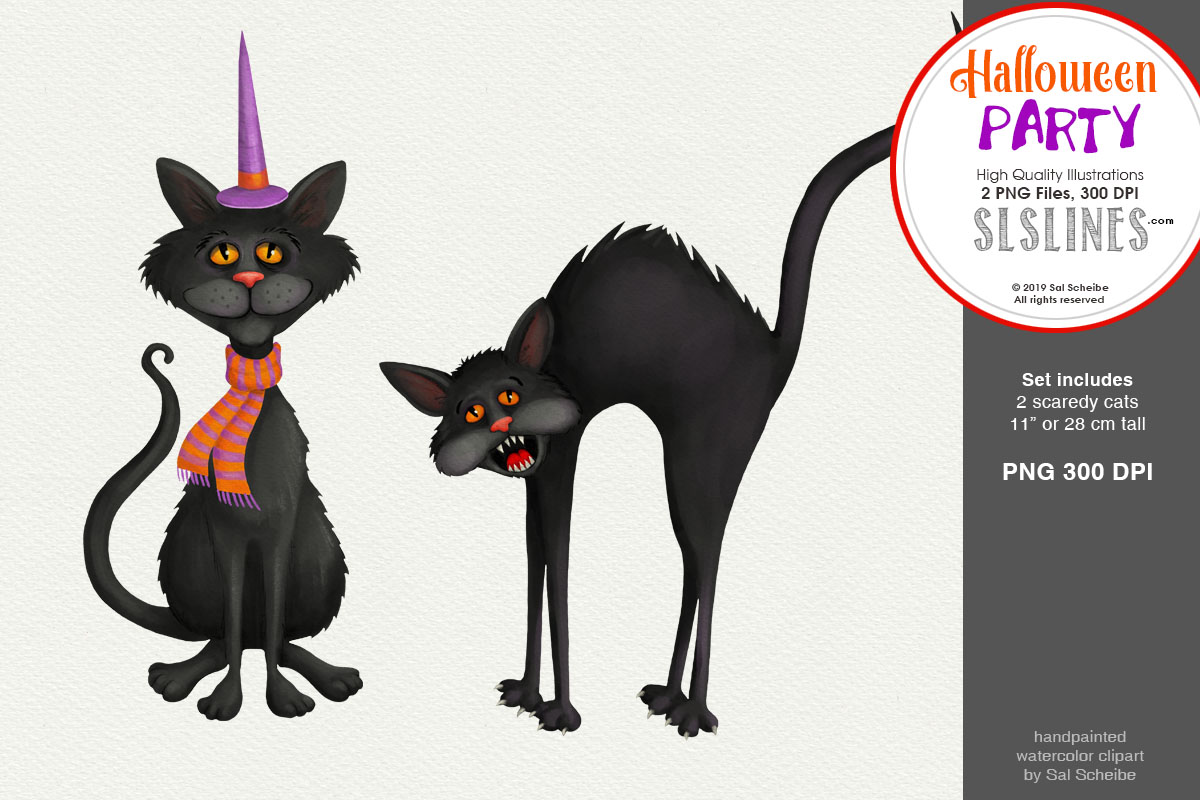 Download Free Halloween Party Two Scaredy Cats Graphic By Sls Lines Creative Fabrica for Cricut Explore, Silhouette and other cutting machines.