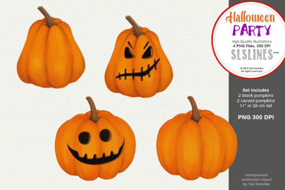Print on Demand: Halloween Party: Watercolor Pumpkins Graphic Illustrations By SLS Lines
