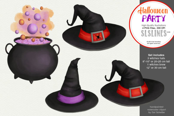 Print on Demand: Halloween Party: Witches Hat & Brew Clip Graphic Illustrations By SLS Lines