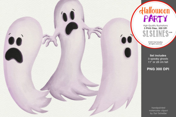 Print on Demand: Halloween Party: a Set of Ghosts Graphic Illustrations By SLS Lines