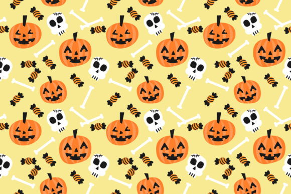 Download Free Halloween Pumpkins Seamless Pattern Graphic By Thanaporn Pinp for Cricut Explore, Silhouette and other cutting machines.