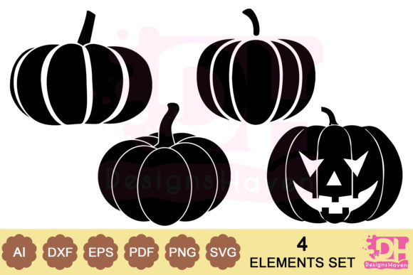 Print on Demand: Halloween Pumpkins Vector Art Bundle Svg Graphic Print Templates By DesignsHavenLLC