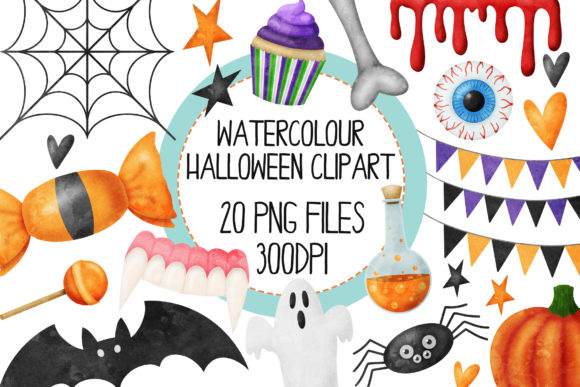 Halloween Set 1 Watercolor Graphic Illustrations By The_Laughing_Sloth_Digital