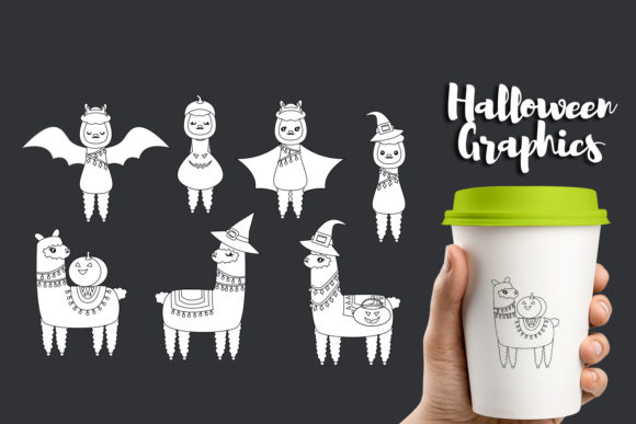 Download Free Halloween Llama Cactus Bundle Graphic By Darrakadisha Creative for Cricut Explore, Silhouette and other cutting machines.