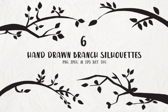 Print on Demand: Hand Drawn Branch Silhouettes Cliparts Graphic Illustrations By Creative Tacos