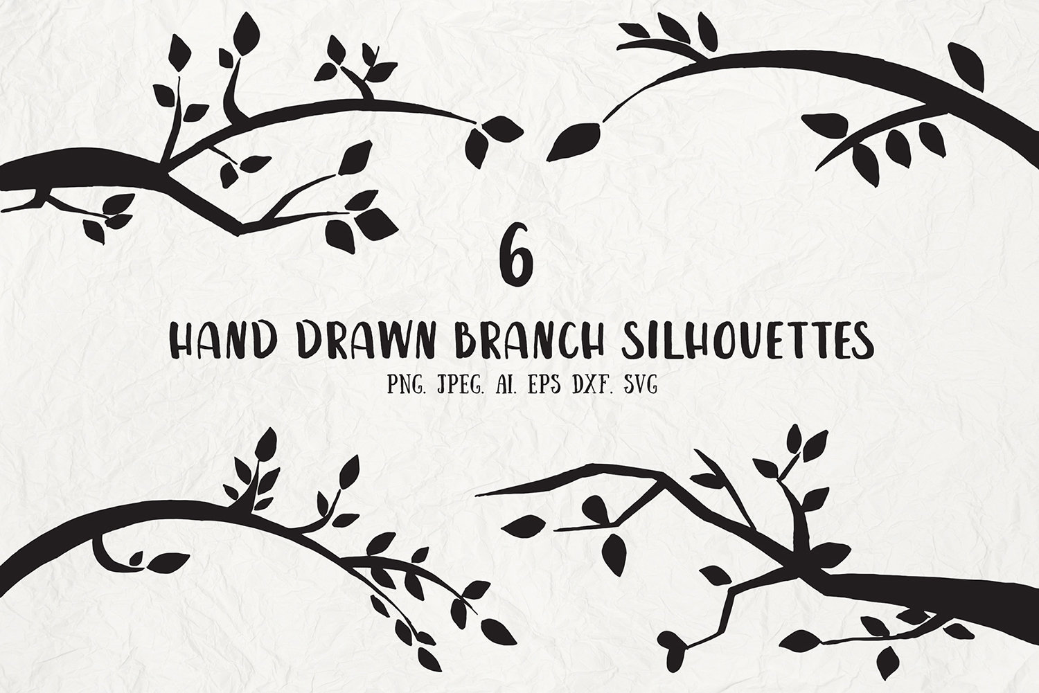 Download Free Hand Drawn Branch Silhouettes Cliparts Graphic By Creative Tacos for Cricut Explore, Silhouette and other cutting machines.