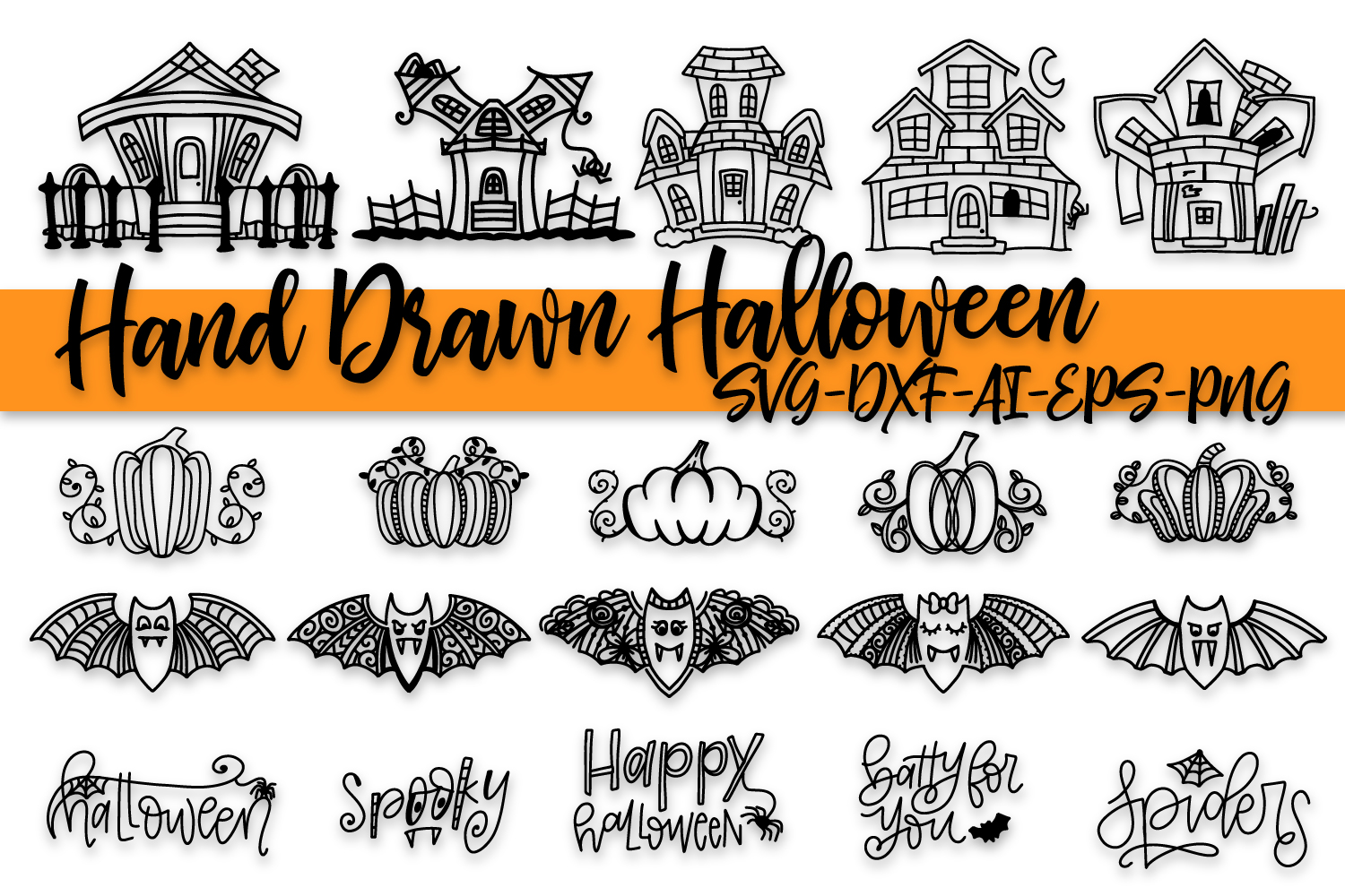 Download Free Hand Drawn Halloween Bundle Graphic By Justina Tracy Creative for Cricut Explore, Silhouette and other cutting machines.