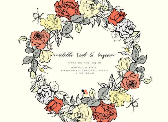 Hand Sketched Floral Clipart Collection Graphic Illustrations By Patishop Art