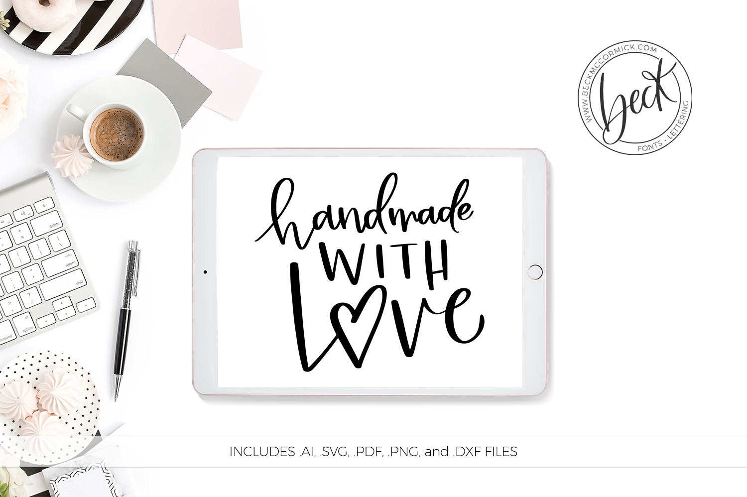 Download Free Handmade With Love Graphic By Beckmccormick Creative Fabrica for Cricut Explore, Silhouette and other cutting machines.