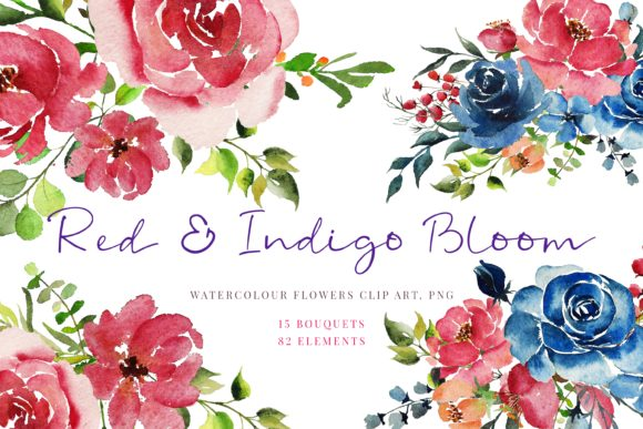 Print on Demand: Handpainted Red & Indigo Flowers, Graphic Illustrations By Primafox Design