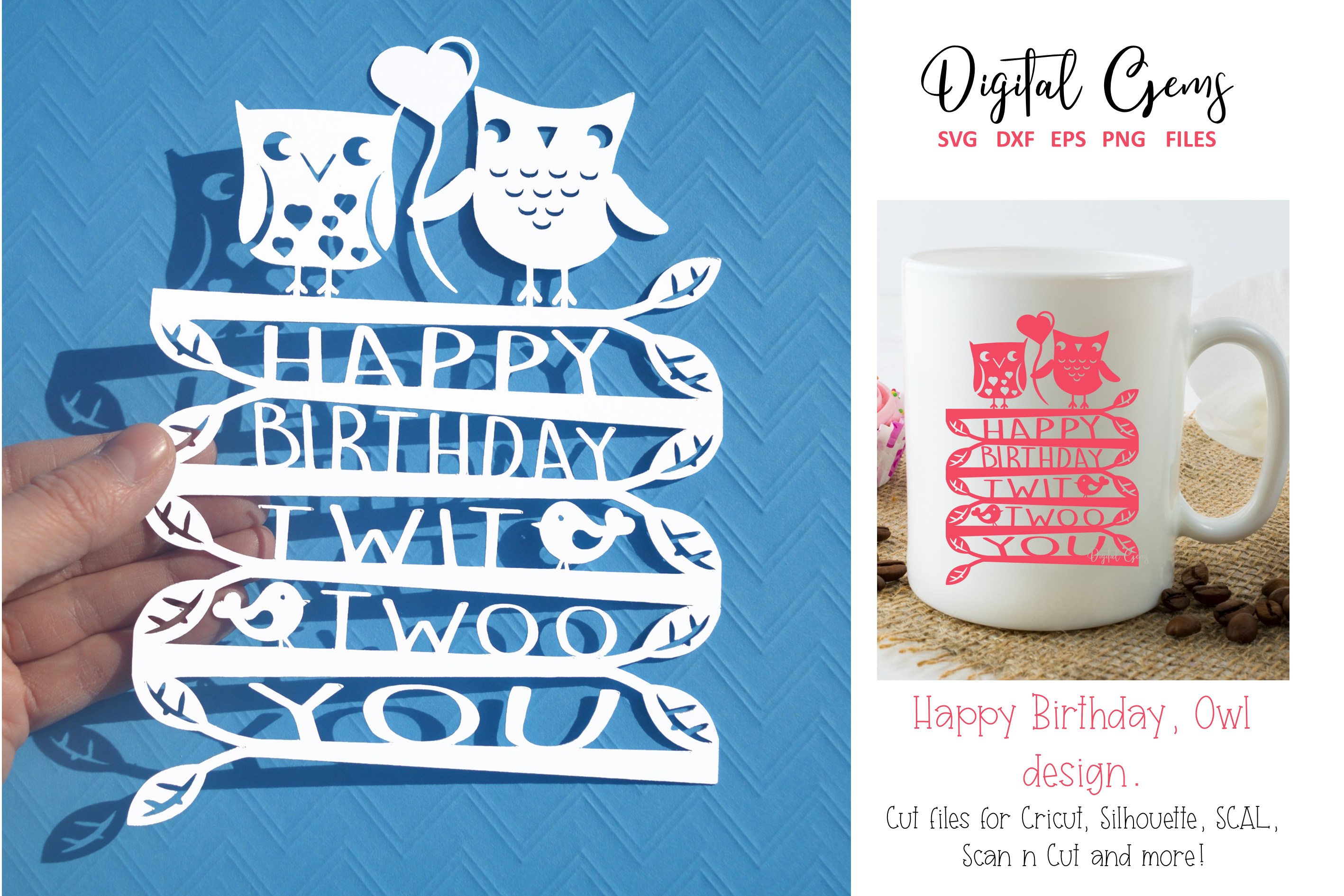 Download Free Happy Birthday Papercut Design Graphic By Digital Gems for Cricut Explore, Silhouette and other cutting machines.