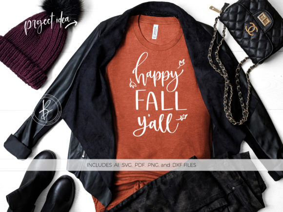 Download Free Happy Fall Y All Graphic By Beckmccormick Creative Fabrica for Cricut Explore, Silhouette and other cutting machines.
