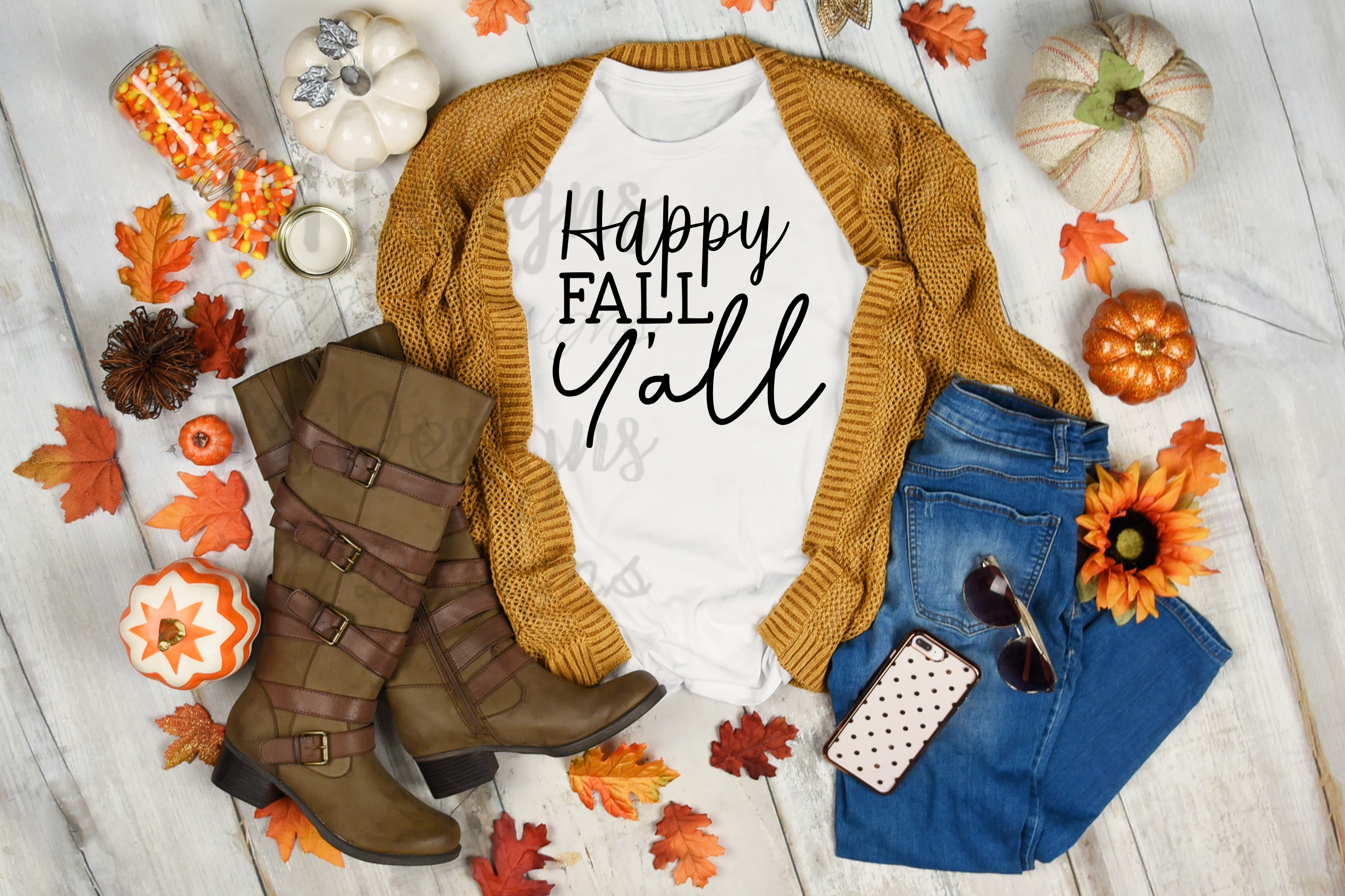 Download Free Happy Fall Y All Graphic By Tabitha Beam Creative Fabrica for Cricut Explore, Silhouette and other cutting machines.