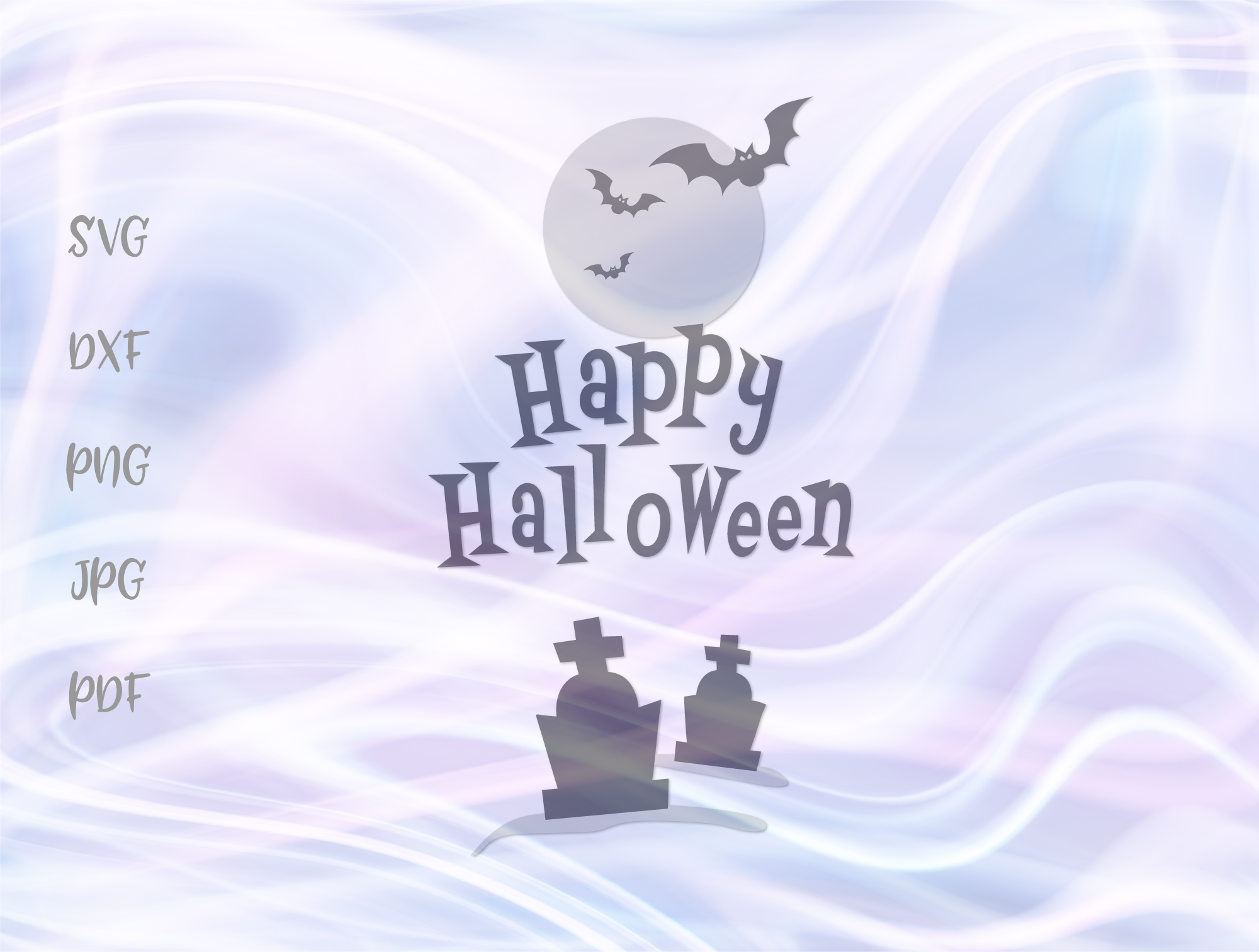 Download Free Happy Halloween Night Cemetery Graves Graphic By Digitals By for Cricut Explore, Silhouette and other cutting machines.