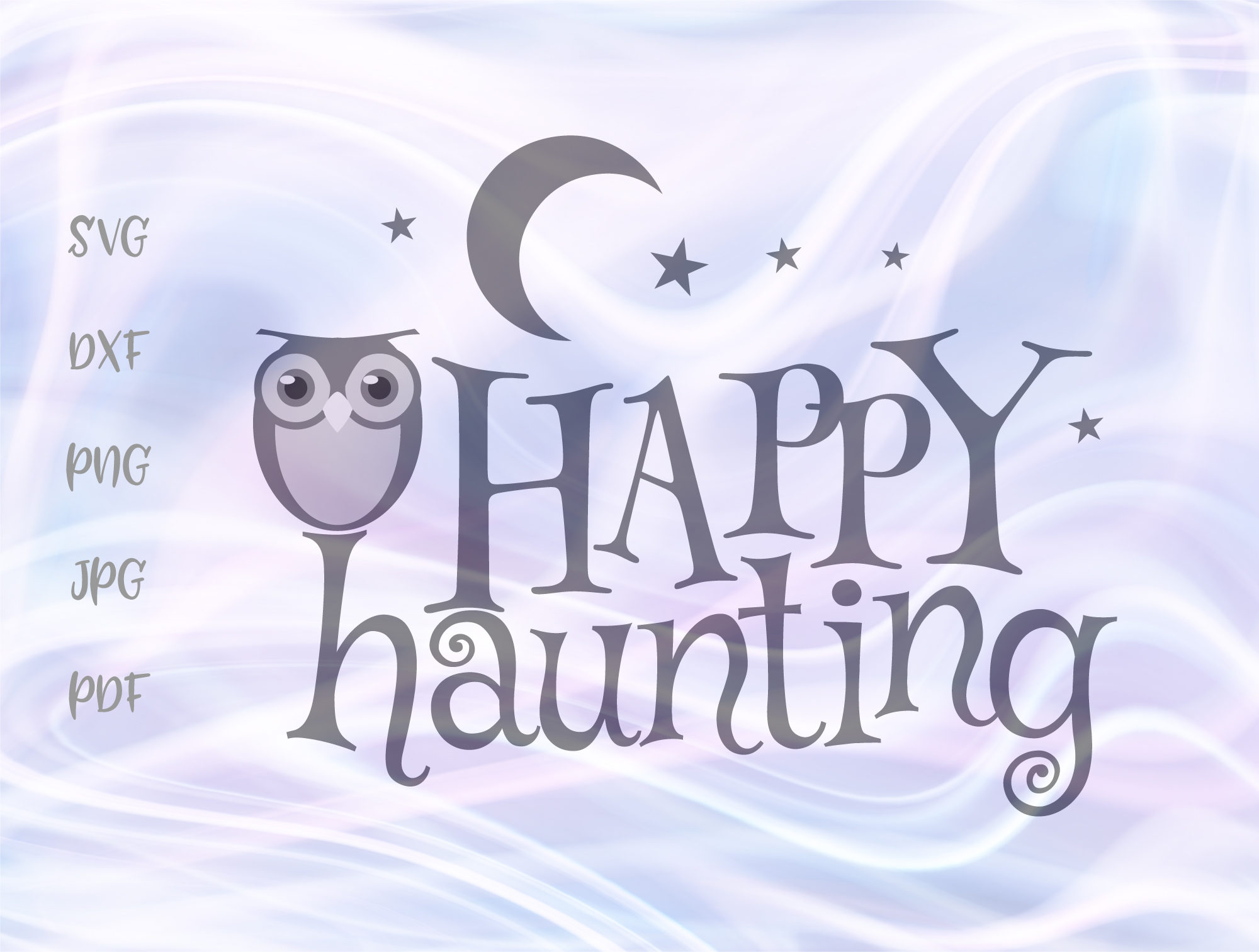 Download Free Happy Halloween Owl Moon Haunting Graphic By Digitals By Hanna for Cricut Explore, Silhouette and other cutting machines.