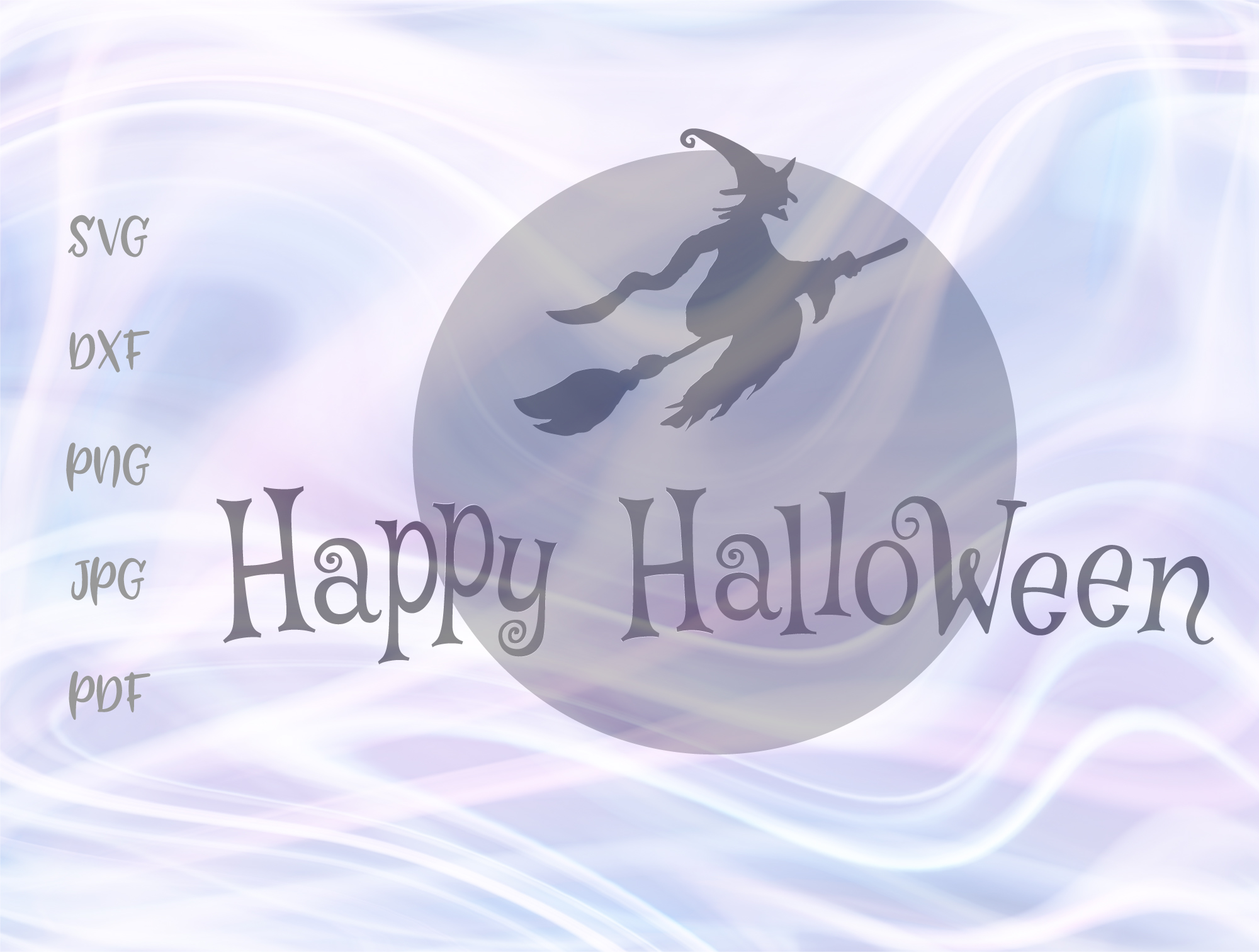 Download Free Happy Halloween Witch Broom Moon Graphic By Digitals By Hanna for Cricut Explore, Silhouette and other cutting machines.