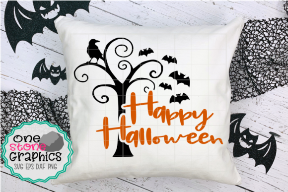 Happy Halloween Tree Graphic Crafts By OneStoneGraphics