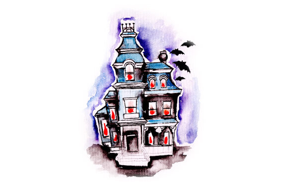 Download Free Haunted House In Watercolor Svg Cut File By Creative Fabrica for Cricut Explore, Silhouette and other cutting machines.