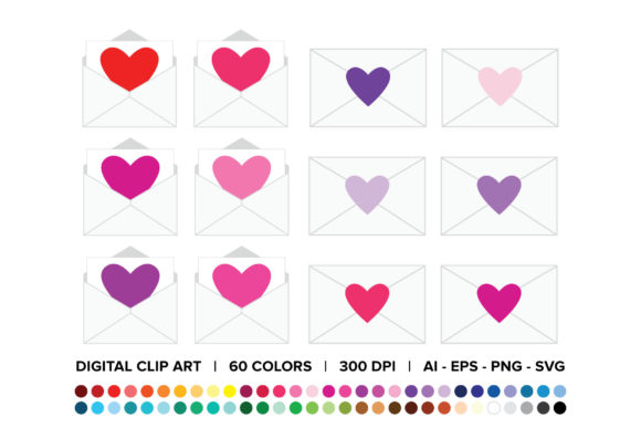 Print on Demand: Heart Envelope Clip Art Set Graphic Objects By Running With Foxes - Image 1