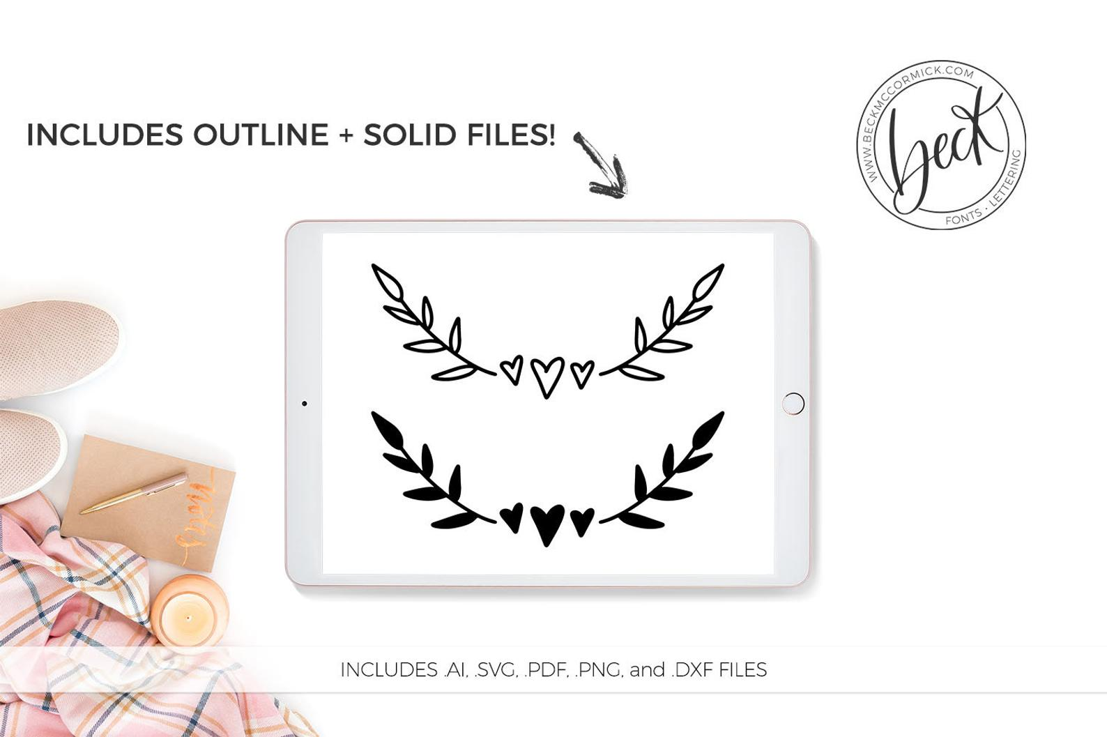 Download Free Heart And Laurels Graphic By Beckmccormick Creative Fabrica SVG Cut Files