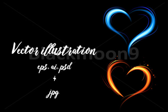 Heart from Red and Blue Fire Graphic Illustrations By Blackmoon9