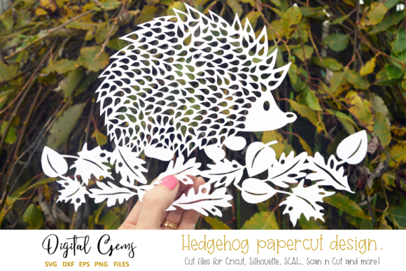 Download Free Hedgehog Papercut Design Graphic By Digital Gems Creative Fabrica for Cricut Explore, Silhouette and other cutting machines.