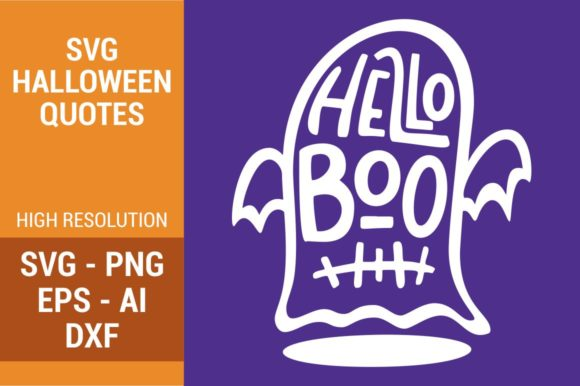 Download Free Hello Boo Graphic By Kreasari Creative Fabrica for Cricut Explore, Silhouette and other cutting machines.