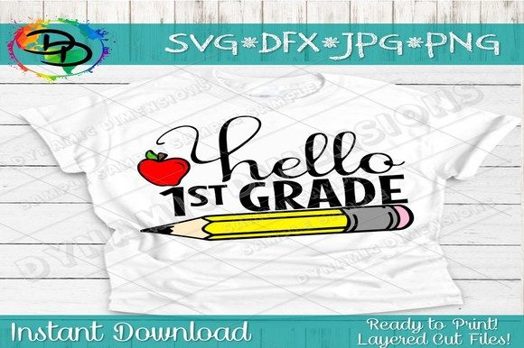 Download Free Hello First Grade Graphic By Dynamicdimensions Creative Fabrica for Cricut Explore, Silhouette and other cutting machines.