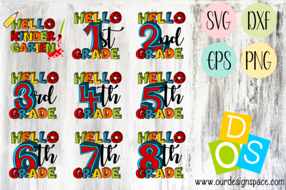 Hello School Grades Graphic Illustrations By Our Design Space