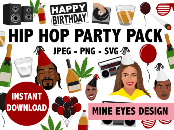 Hip Hop Party Icon Collection Graphic Illustrations By Mine Eyes Design