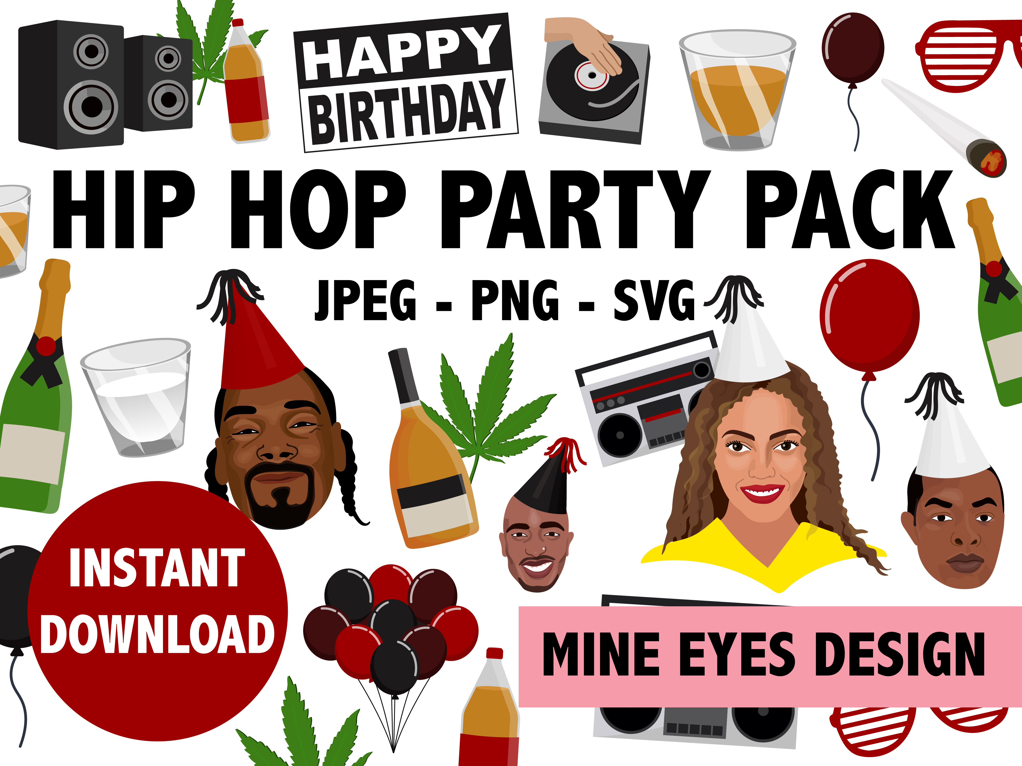 Download Free Hip Hop Party Icon Collection Grafik Von Mine Eyes Design for Cricut Explore, Silhouette and other cutting machines.