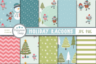 Holiday Racoons Paper Graphic By poppymoondesign
