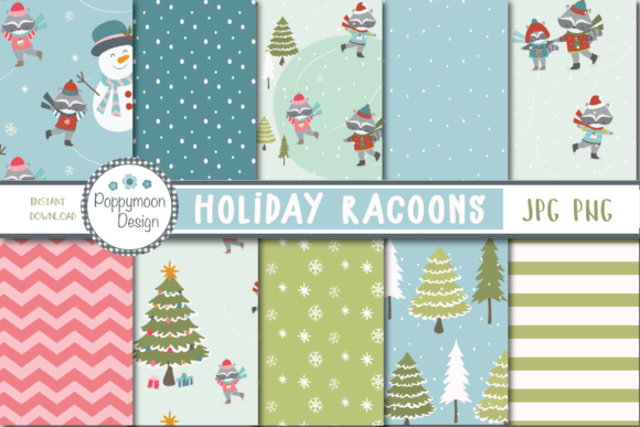 Print on Demand: Holiday Racoons Paper Gráfico Moldes Por poppymoondesign