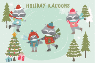 Holiday Racoons Graphic By poppymoondesign