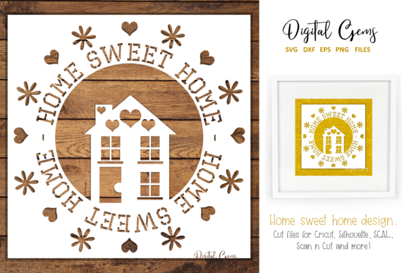 Download Free Home Sweet Home Design Graphic By Digital Gems Creative Fabrica for Cricut Explore, Silhouette and other cutting machines.