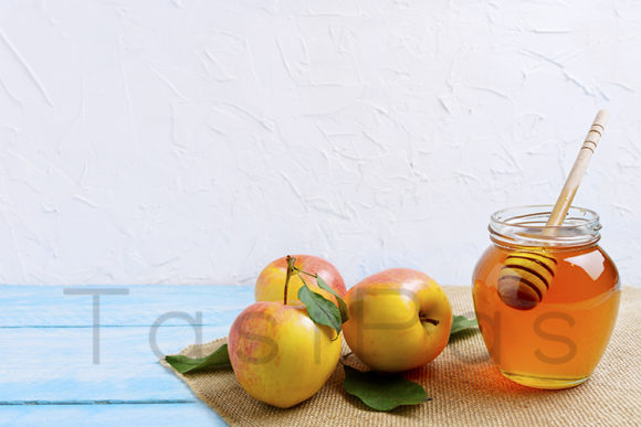 Print on Demand: Honey Jar with and Apples Copy Space. Graphic Food & Drinks By TasiPas