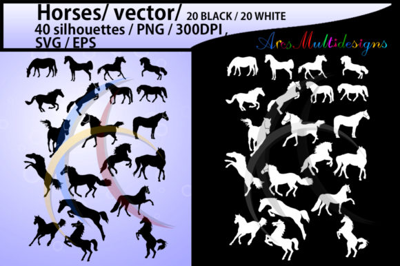 Print on Demand: Horse Silhouette Graphic Illustrations By Arcs Multidesigns