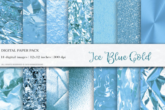 Ice Blue Gold Textures Graphic Textures By damlaakderes