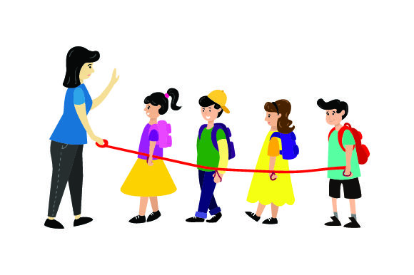 Illustration of School Children on Leash -Back to School School & Teachers Craft Cut File By Creative Fabrica Crafts