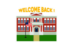 Illustration of School with USA Flag in Front - Back to School Craft Design By Creative Fabrica Crafts