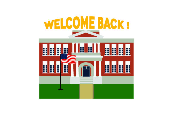 Illustration of School with USA Flag in Front - Back to School School & Teachers Craft Cut File By Creative Fabrica Crafts