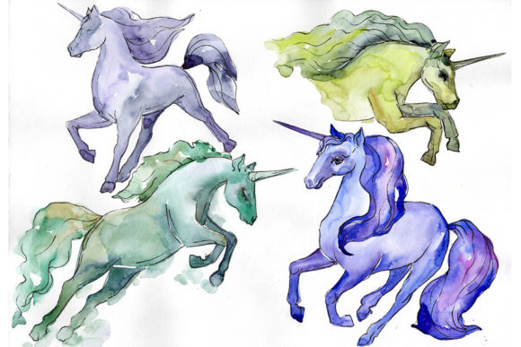 Download Free Image Unicorn Watercolor Graphic By Mystocks Creative Fabrica for Cricut Explore, Silhouette and other cutting machines.