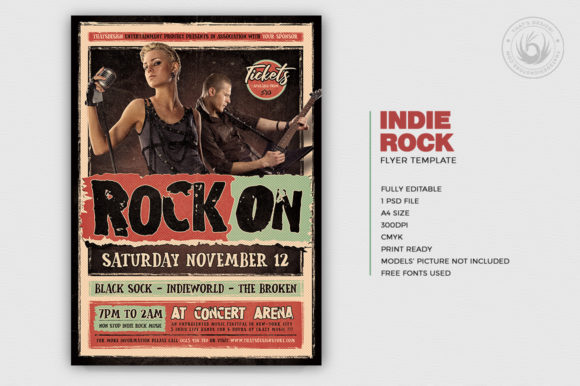 Download Free Indie Rock Flyer Template V4 Graphic By Thatsdesignstore for Cricut Explore, Silhouette and other cutting machines.