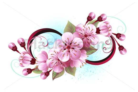Download Free Infinity With Sakura Blossom Graphic By Blackmoon9 Creative for Cricut Explore, Silhouette and other cutting machines.
