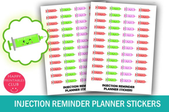 Print on Demand: Injection Reminder Planner Stickers Graphic Crafts By Happy Printables Club