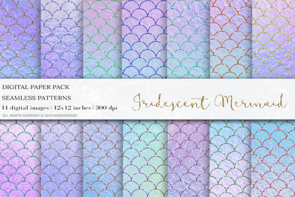 Iridescent Glitter Mermaid Digital Paper Graphic Patterns By BonaDesigns