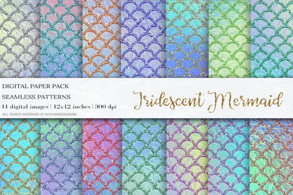 Iridescent Mermaid Digital Papers Graphic Patterns By BonaDesigns