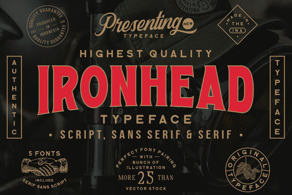 Print on Demand: Ironhead Display Font By Ngene