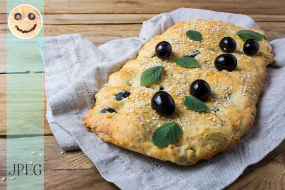 Print on Demand: Italian Focaccia with Olive Italian Graphic Food & Drinks By TasiPas